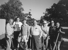 Service Clubs Working Bee. May 1992.The community service clubs joined in a combined effort for landscaping the newly built Gawler & District Aged Cottage Homes Inc. units in Daly Street, Gawler