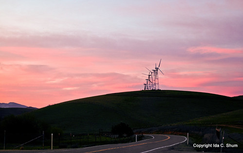 california travel sunset sun color windmill landscape evening spring movement nikon windmills alternativeenergy livermore pinksky ida magichour shum altamont windingroad d300 cleanenergy curvedroad colorsinthesky northflynnroad idashum idacshum