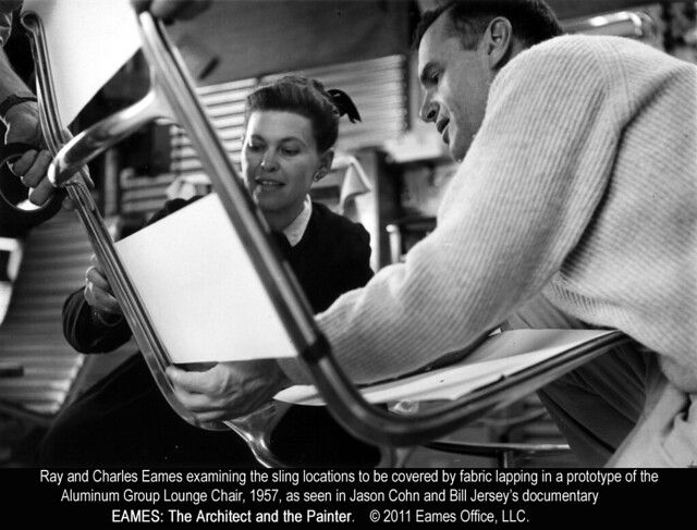 Ray and Charles Eames working on chair prototype (1957)