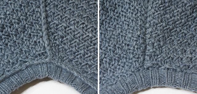 Three needle bind-off used on a sweater shoulder seam, worked with right sides facing. Inside left, outside right.
