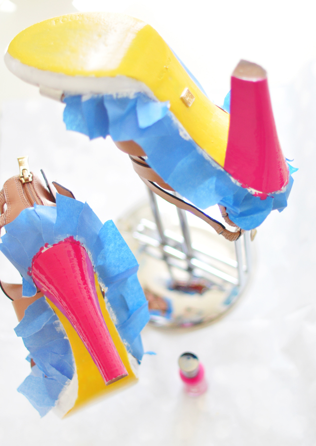 Neon Shoes DIY - paint leather shoes 8