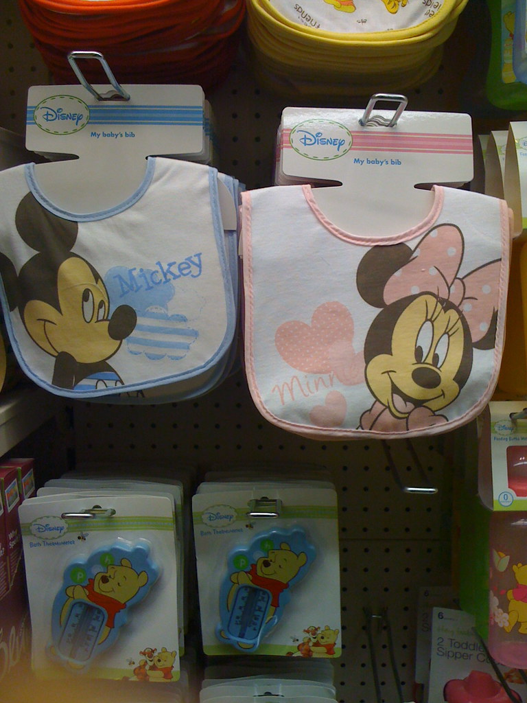 Photo of Disney Mickey/Minnie Mouse bibs in pink and blue