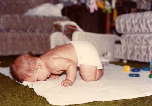 Baby crawl face plant