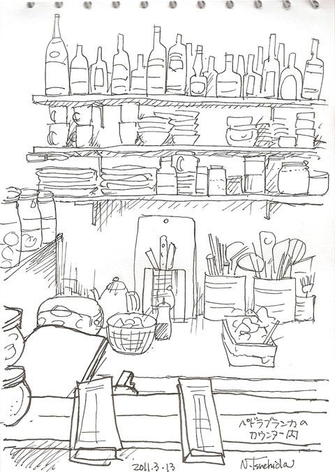 カフェのカウンター内 in the counter of the cafe