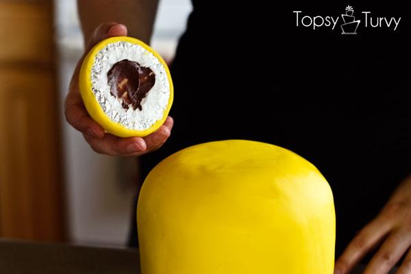 lego-head-cake-tutorial-attaching-top