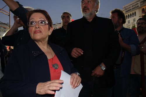 Aleka Papariga, leader of KKE (Communist Party of Greece) moments before going on stage to address Greek communist party rally in Thessaloniki, Greece. by Teacher Dude's BBQ