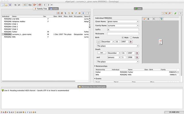 GenealogyJ under Mac OS X - Main Table