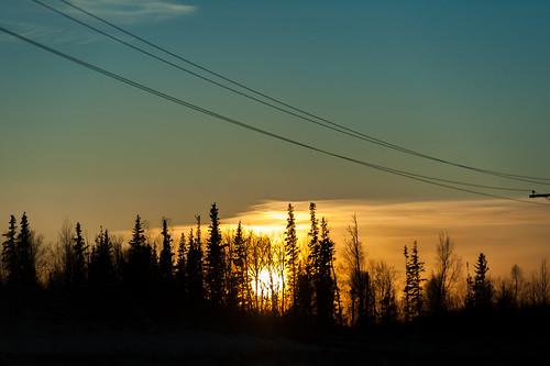 trees winter sunset sun snow cold alaska unitedstates 70200 wasilla nikond700