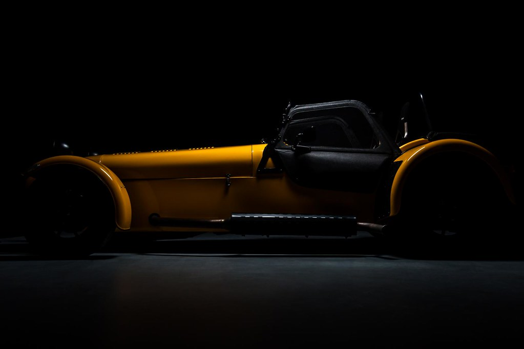 Yellow Caterham Super 7 Studio shoot.