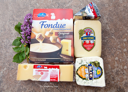 Fondue kit, Gruyere, Emmenthaler, Don Olivo, and Buttermilk Blue