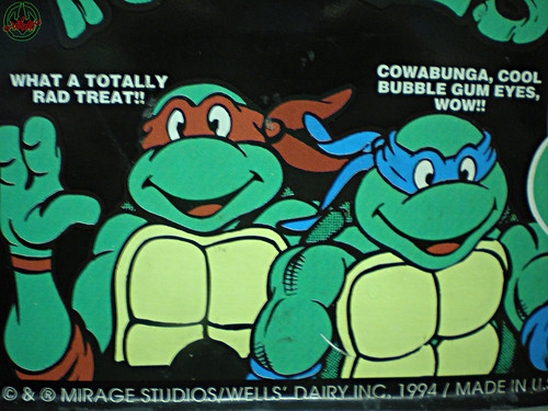 Blue Bunny :: Teenage Mutant Ninja Turtle 'Face' Bars - vendor sticker iv (( 1994 ))