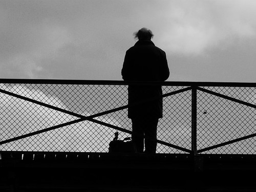 Lonely Man Pont des Arts by Patrice BALARD