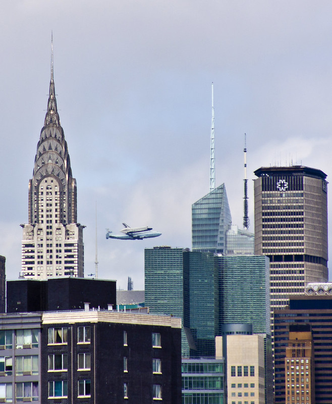 Space Shuttle Enterprise Flyover by the Chrysler Building
