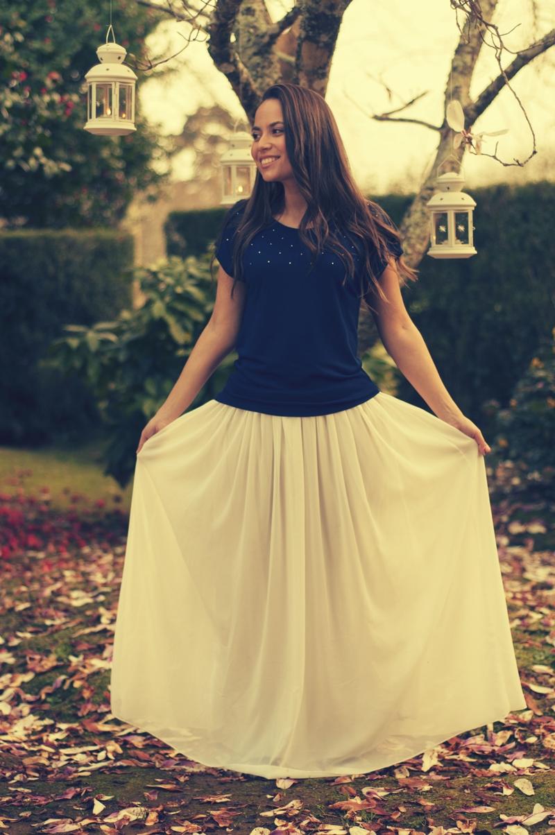 Falda larga camisa swaroski