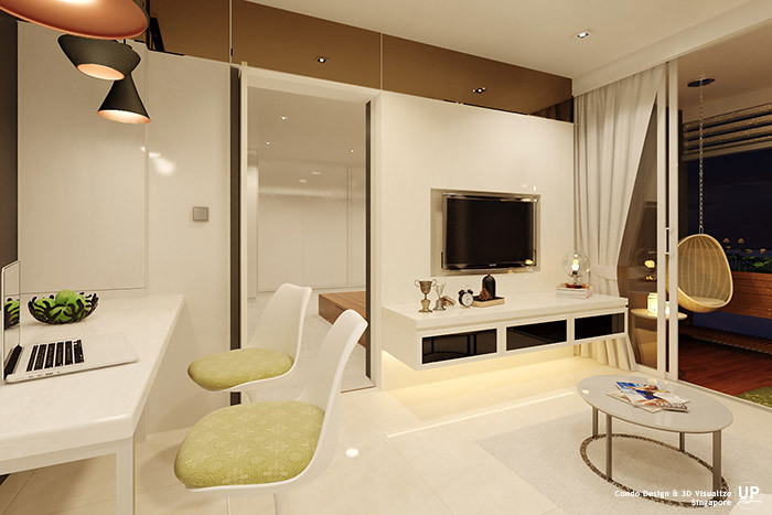 Residential Interior Design Idea_Living and Dining Concealed Door_Condominium_Palm Oasis, Singapore_07