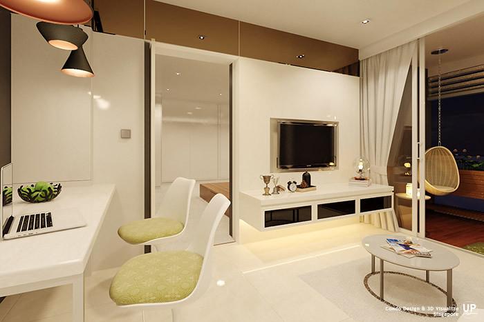 Residential Interior Design Idea_Living and Dining Concealed Door_Condominium_Palm Oasis, Singapore_07
