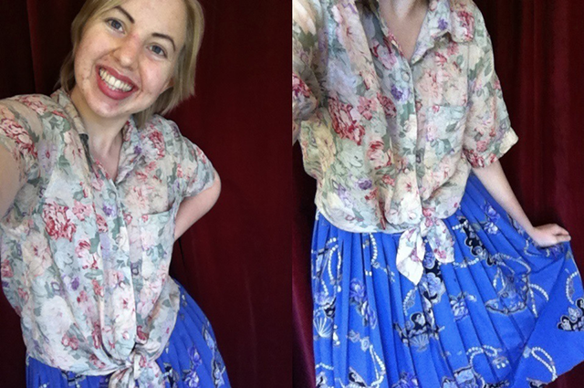 floral silk shirt & pleated vintage periwinkle skirt