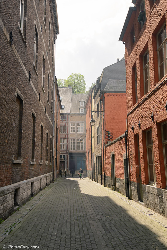 namur cobbled street and brick houses