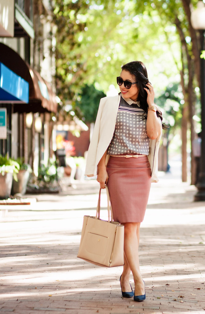 cute & little blog | petite fashion | white blazer, navy pink tile print, pink pencil skirt, pink bow belt | spring outfit