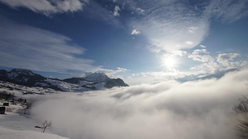 schnee winter nebel sonne amden nebelmeer gulmen leistkamm