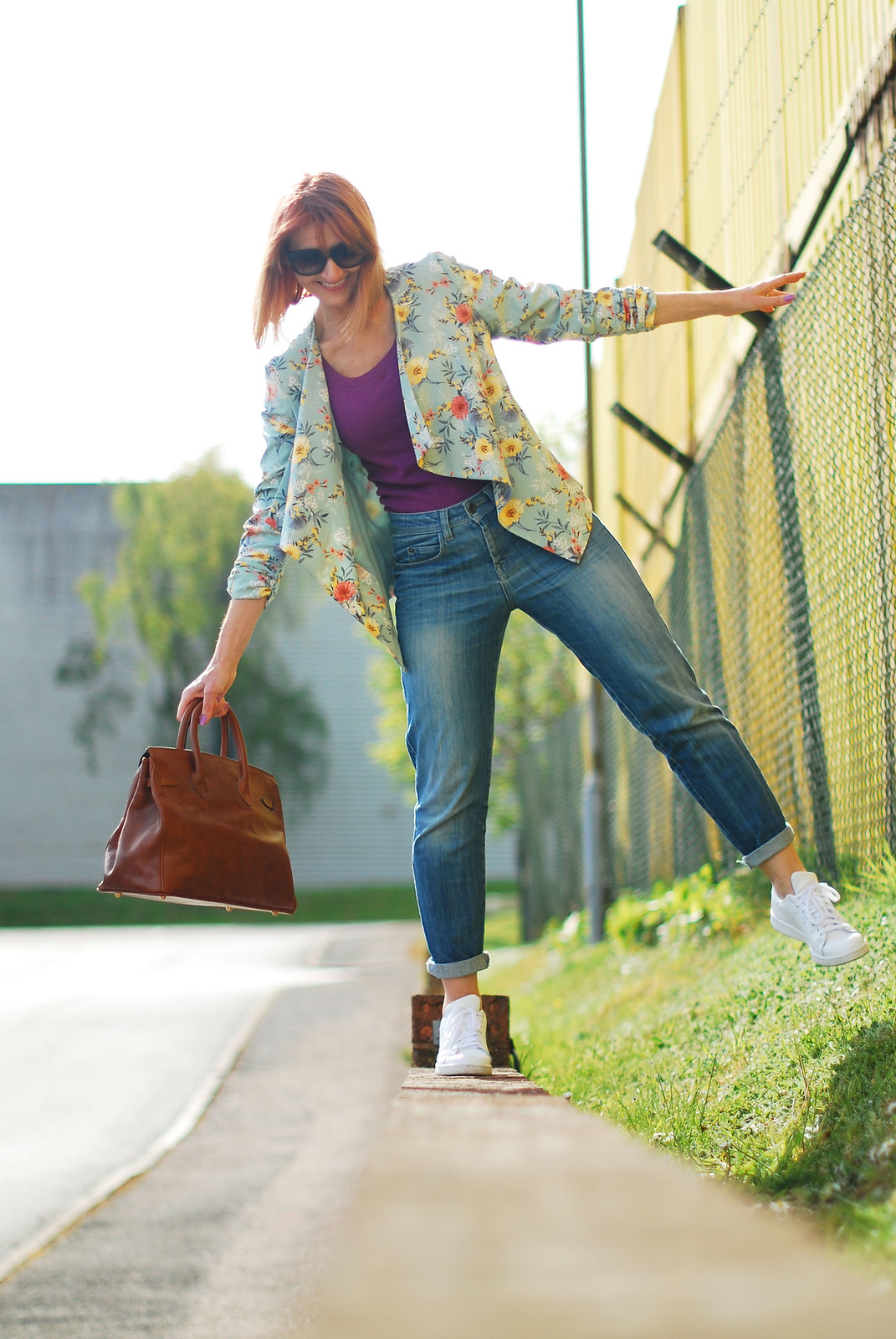 Casual Spring Summer look: Floral drape jacket, purple tank, boyfriend jeans, white Stan Smiths | Not Dressed As Lamb