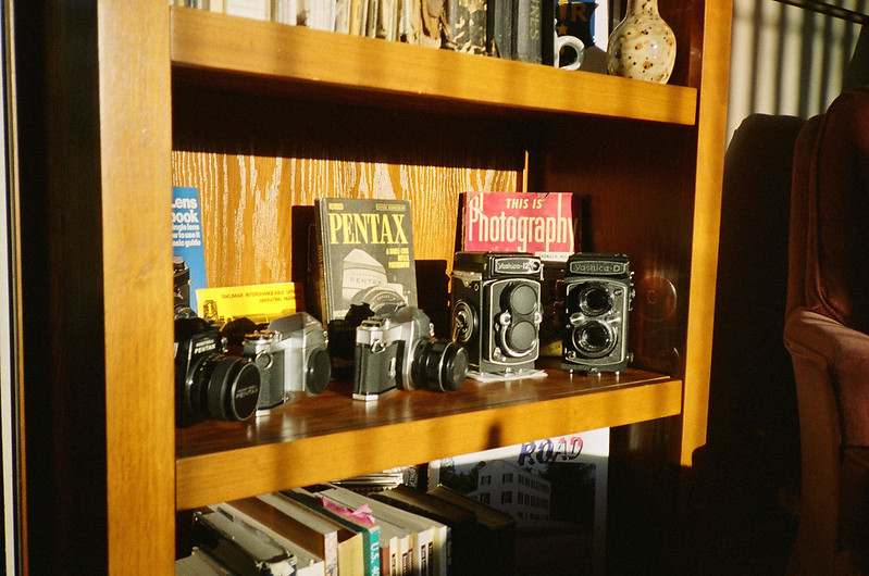 Some cameras on the shelf