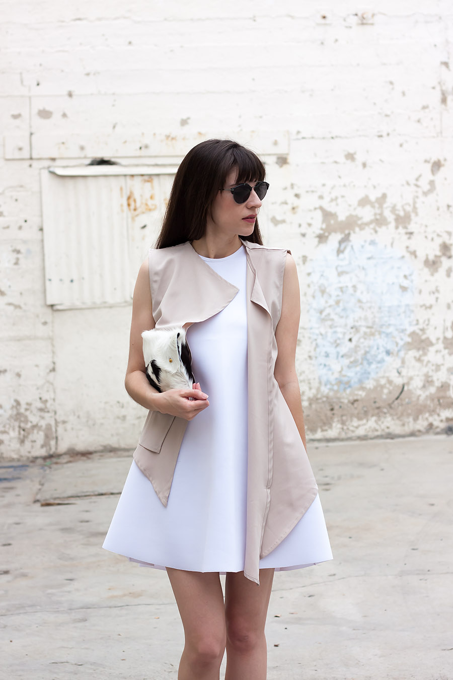 White Scuba Dress, Shop The Mint, Tan Layered Vest