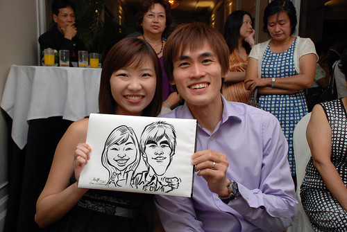 caricature live sketching for wedding dinner @ Goodwood Park Hotel - 6