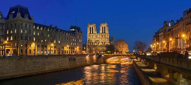 Notre Dame Cathedral and the Seine River, Paris, France.