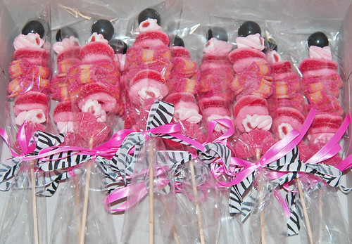 black and pink zebra candy kabob party favors