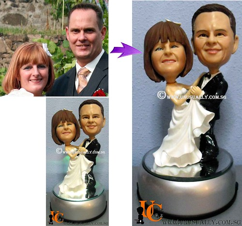 Custom 3D Rotating W Light Base Couple Figurines - @ www.unusually.com.sg