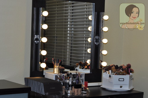 diy vanity light mirror.  Vanity with my own DIY lighted mirror To My Makeup Set Up With Lighted Mirror The Shades Of U