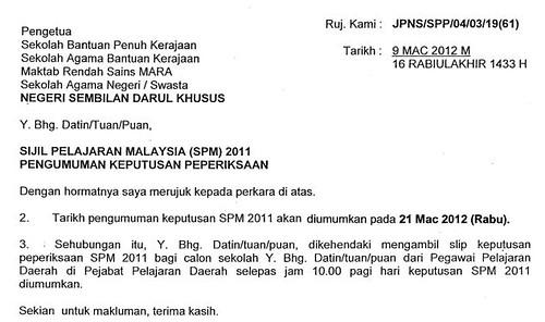 Surat Rasmi Tarikh Umum SPM 2011