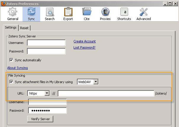 WebDAV storage space