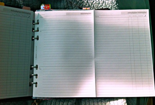 filofax activity sheet