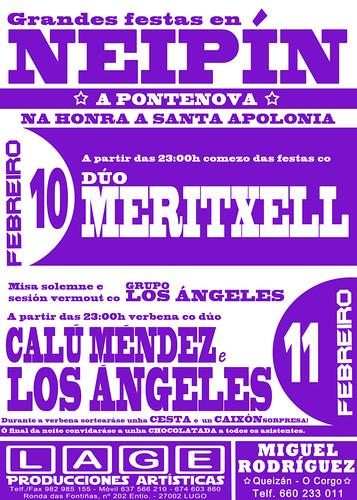 A Pontenova 2012 - Festas de Santa Apolonia en Neipín - cartel