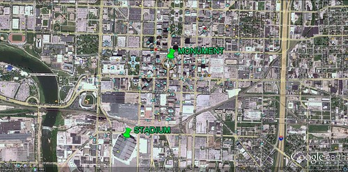 Lucas Oil Stadium in downtown Indianapolis (via Google Earth)