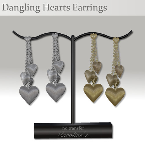 Caroline's Jewelry Dangling Hearts Earrings