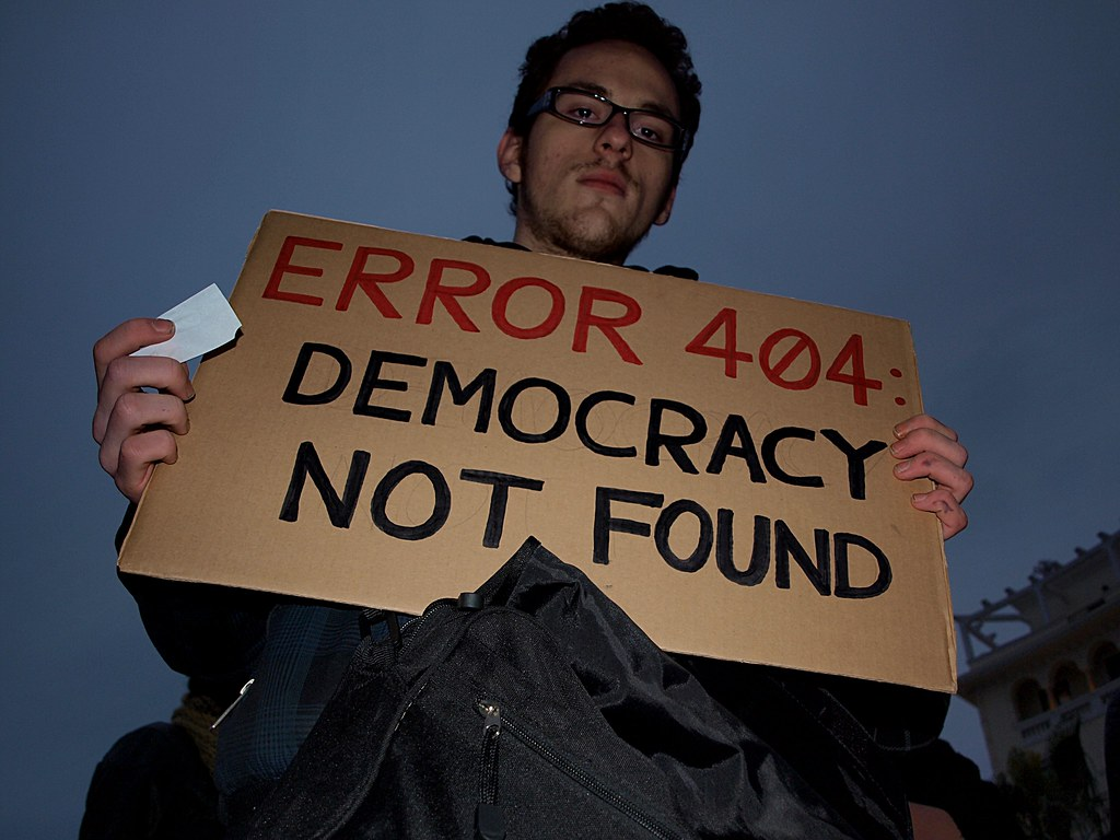 """ERROR 404 - Democracy Not Found"". Anti - ACTA protest in Thessaloniki, Greece."