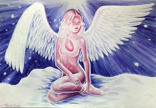 Shining heart angel drawing