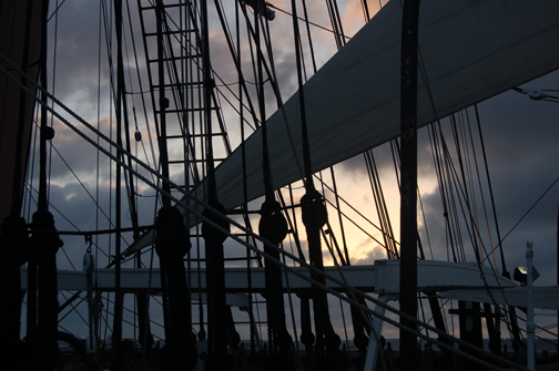 sunset through rigging