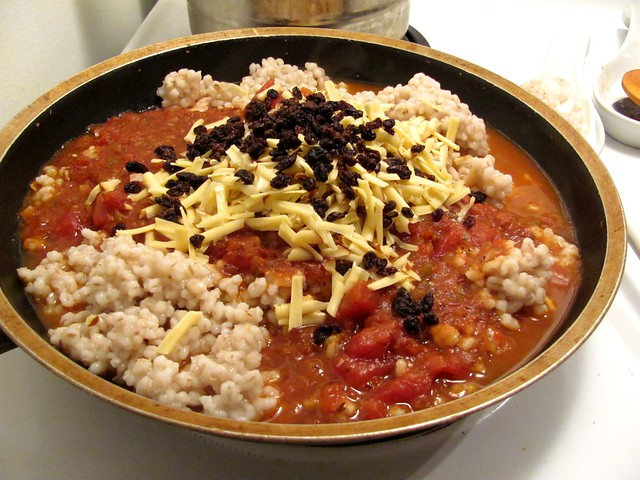 Bitchin' Kitchen Nadia G's Spicy Chicken Barley Risotto with Dried Currants and Smoked Gouda
