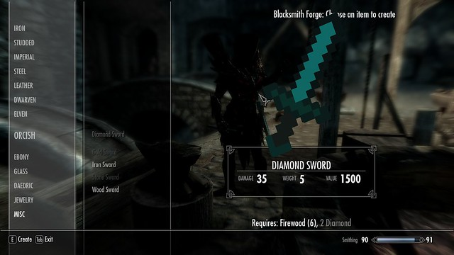 Skyrim Mods Roundup - Minecraft Diamond Sword