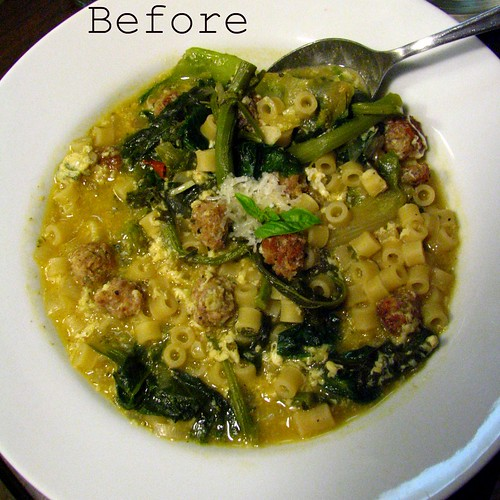 Italian Wedding Soup (Escarole Soup) before