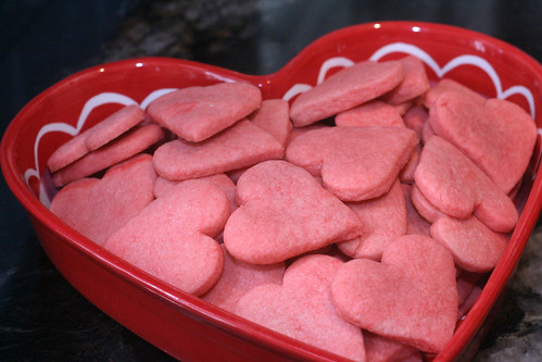 pink heart sugar cookies