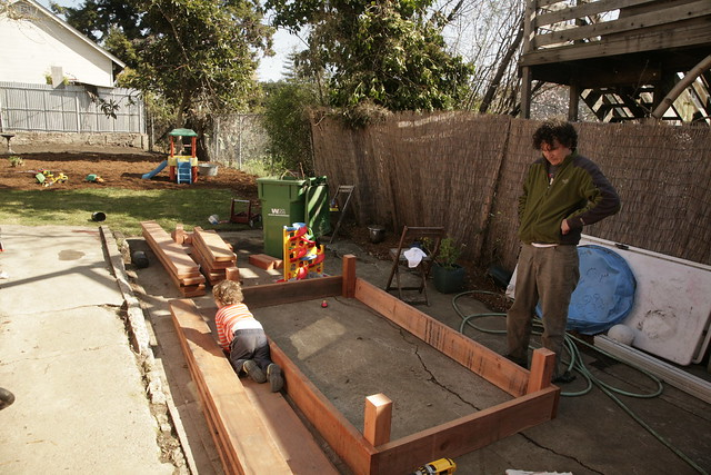Building raised beds.