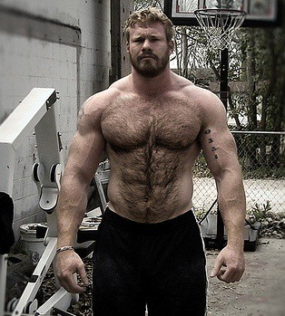 Hairy muscle bodybuilder