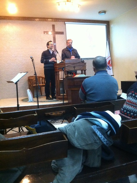 church service at the West Bank (Baraka Presbyterian Church - Pratt with translator)