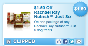 Rachael Ray Nutrish Just Six  dog treats Coupon