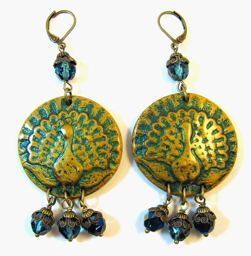 FEB ABS Challenge Entry - Ancient Romance Series - Persian Peacock Polymer Clay Earrings with Vintaj and Fire Polished Czech Glass Beads